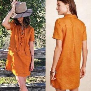Anthro Maeve Orange Mango Lace Up Linen Dress 4